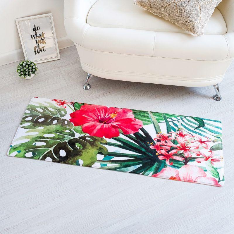 2338 Килимче постелка за под пътека Тропически цветя, 45x120cm