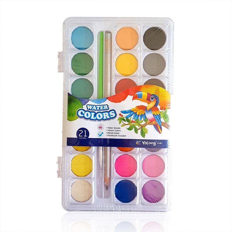 2375 Водни бои за рисуване с четка и графитен молив, 21 цвята