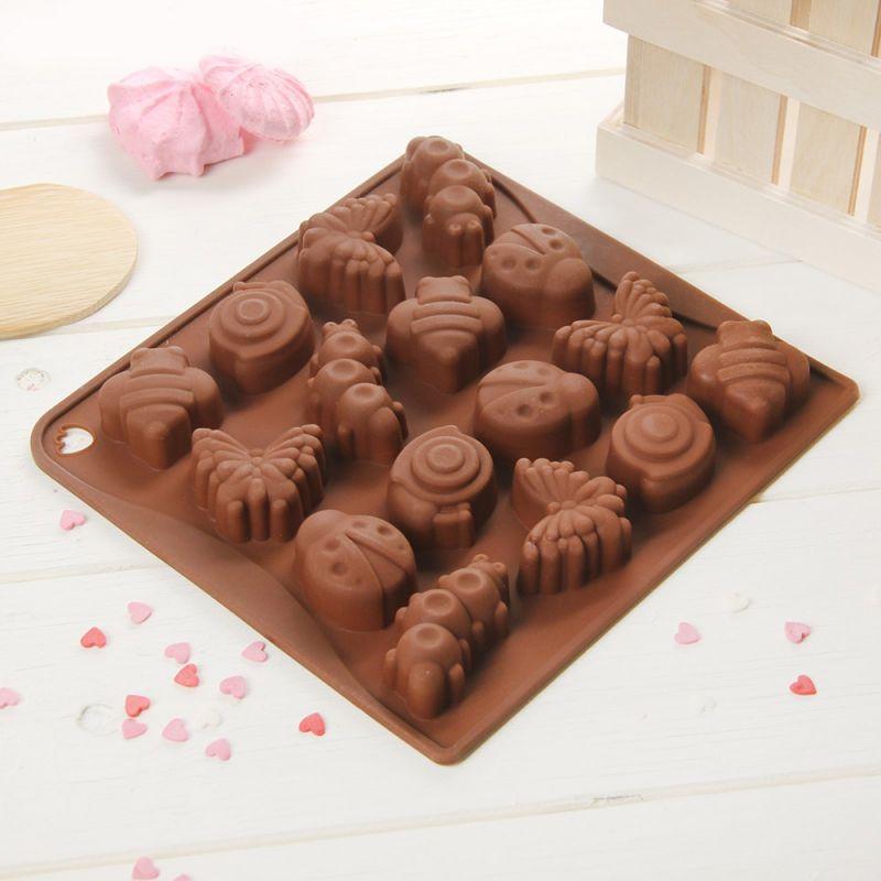 2409 Силиконова форма за шоколадови бонбони Насекоми