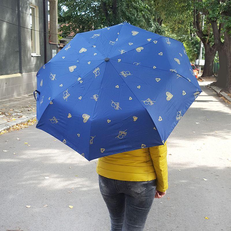2432 Сгъваем автоматичен чадър на сърца, с UV защита