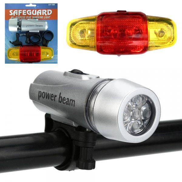 2436 Универсален комплект LED светлини за велосипед фар и стоп за колело