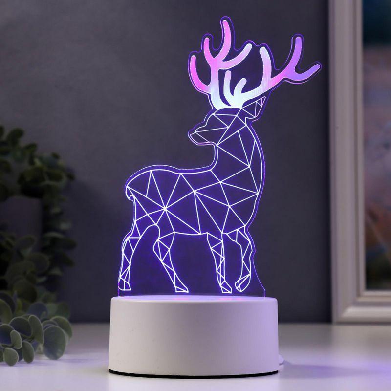2451 Декоративна 3D LED лампа Северен елен коледна украса