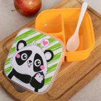 2401 Детска кутия за обяд с три отделения и лъжичка Панда/Коте